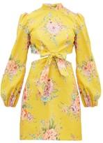 Zimmermann Zinnia Floral-print Cut-out Linen-blend Mini Dress - Womens - Yellow Print