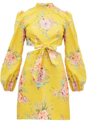 Zimmermann Zinnia Floral-print Cut-out Linen-blend Mini Dress - Womens - Yellow Print