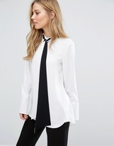 Warehouse Color Block Tie Neck Blouse