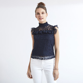 Apricot Cream High Neck Ruffle Detail Lace Top