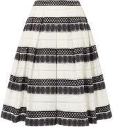 Karen Millen Devoré Stripe Midi Skirt - Black & White