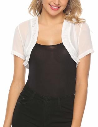 Aibrou Women Shrugs Lace Short Sleeve Open Front Cropped Bolero Cardigan Cover Up for Wedding Evening Dresses White
