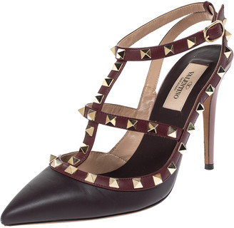 Valentino Tricolor Leather Studded Strappy Pointed Toe Sandals Size 38