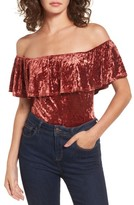 Band of Gypsies Women's Ruffle Crushed Velvet Bodysuit
