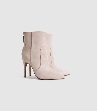 Reiss Enya - Suede Point Toe Heeled Ankle Boots in Taupe
