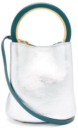 Marni Pannier Small Metallic-leather Bucket Bag - Silver