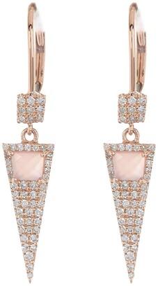 Meira T 14K Rose Gold Rose Quartz & Pave Diamond Spike Drop Earrings