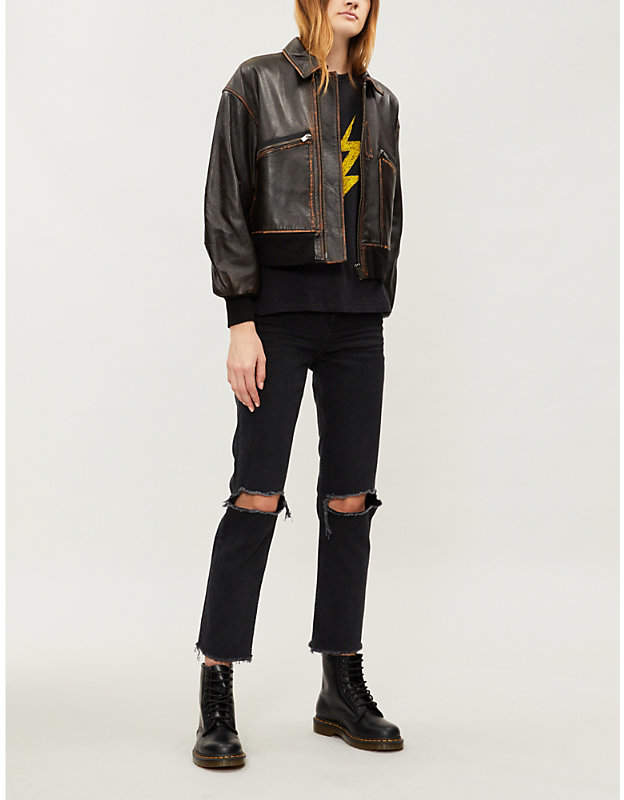 The Kooples Aged leather bomber jacket