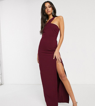 Vesper Tall one strap maxi dress with leg split in burgundy-Red
