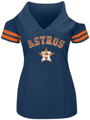 Women's Heathered Navy Houston Astros Plus Size Cold Shoulder T-Shirt