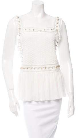 Chloé Silk Grommet Embellished Sleeveless Top w/ Tags