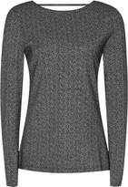Reiss Kenna - Scoop-back Metallic Jumper in Black/Silver