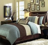 Chezmoi Collection 104 x 92-Inch 8-Piece Modern Comforter Bed-in-Bag Set, California King/Blue/Brown/Beige
