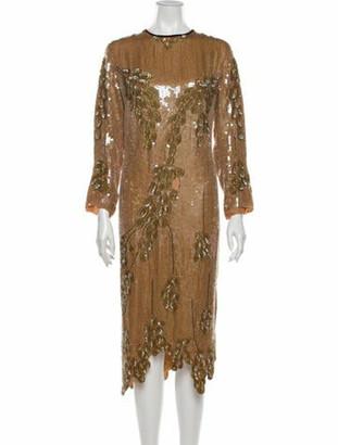 Dries Van Noten Silk Midi Length Dress Brown