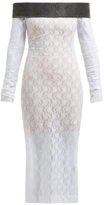 Christopher Kane Crystal-embellished Chantilly-lace Midi Dress - Womens - White