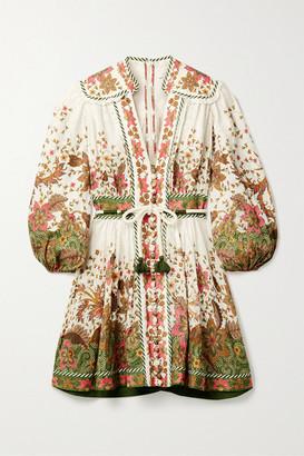 Zimmermann Empire Belted Printed Linen Mini Dress