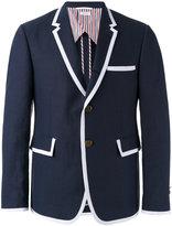 Thom Browne contrast detail blazer - men - Linen/Flax/Polyester/Cupro - 2