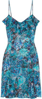 La Perla Ruffle-trimmed Printed Silk-blend Mini Dress - Blue