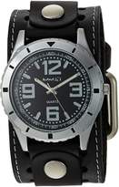 Nemesis Men's STH096K Collection Stainless Steel Watch with Leather Band