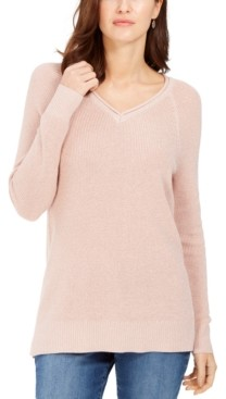 Charter Club Lurex V-Neck Sweater, Created for Macy's