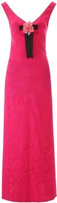 STAUD LONG JACQUARD DRESS 2 Fuchsia