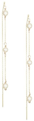 Zoë Chicco 4MM White Round Freshwater Pearl 14K White Gold Linear Drop Earrings