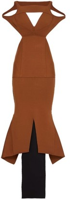 Rick Owens Sling Contrast-hem Jersey Maxi Dress - Bronze