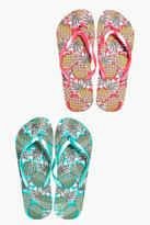 Boohoo Zoe Pineapple Print Two Pack Flip Flop