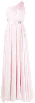 Alexandre Vauthier One-Shoulder Gathered Silk Dress With Belt Detail
