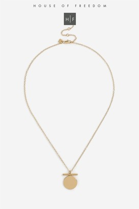 Topshop Gold Plated Coin T-Bar Necklace