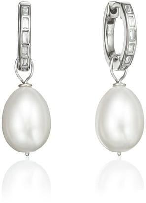 Lily & Roo Silver Diamond Style Baguette Pearl Drop Hoop Earrings