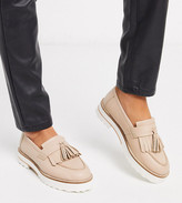 BEIGE Asos Design ASOS DESIGN Wide Fit Meze chunky fringed leather loafers in