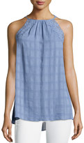 Max Studio Sleeveless Lace-Trim Tank, Chambray