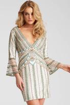 Jovani 52208 Beaded V Neck Quarter Length Sleeves Short Dress