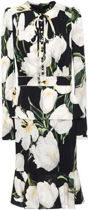 Dolce & Gabbana Fluted Button-embellished Floral-print Peplum Stretch-silk Charmeuse Dress