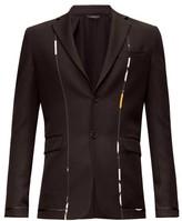 Fendi Single-breasted Contrast-trim Wool-twill Jacket - Mens - Black