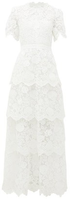Self-Portrait Tiered-skirt Floral-lace Dress - Womens - Ivory