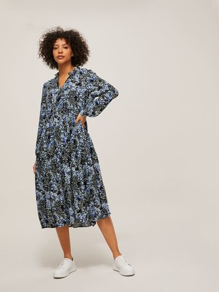 AND/OR Patti Marbled Animal Print Dress, Blue/Multi