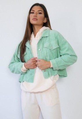 Missguided Sage Pleat Back Cord Cropped Jacket