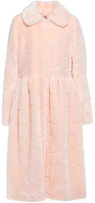 Shrimps Barbara Gathered Quilted Faux Fur Coat