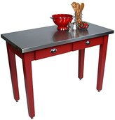 """John Boos Cucina Milano Table with Satinless Steel Top, 60""""W x 36""""D x 30""""H, Black"""