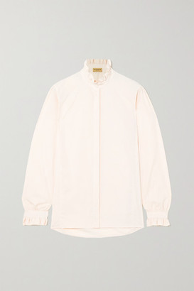 JAMES PURDEY & SONS Ruffled Cotton-jacquard Shirt - Ivory