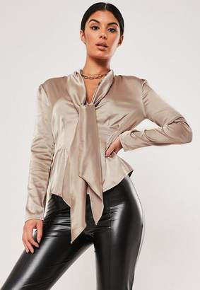 Missguided Bronze Satin Pussybow Blouse