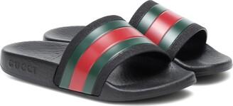 Gucci Kids Web stripe rubber slides