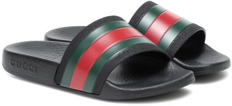 Gucci Kids Web stripe rubber slides