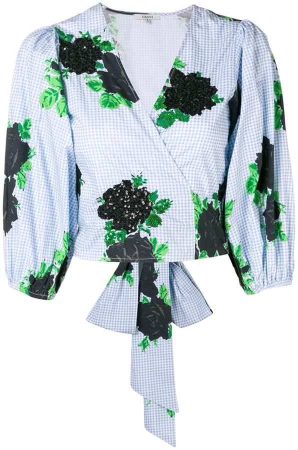 Ganni sequin floral wrap blouse