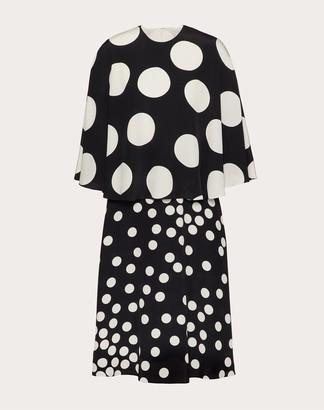 Valentino Printed Crepe De Chine Dress Women Black/ivory Silk 100% 38