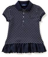 Ralph Lauren Big Girls 7-16 Printed/Solid Peplum-Hem Polo Shirt