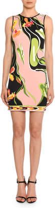 Emilio Pucci Water-Lily Print Sleeveless Sheath Dress