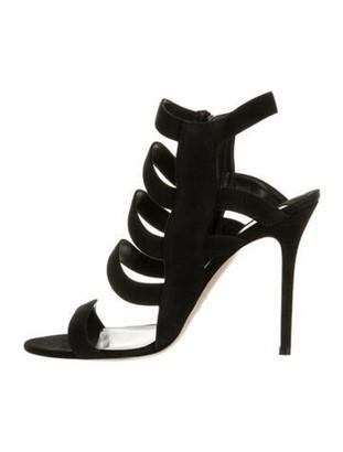 Aperlaï Suede Slingback Sandals Black